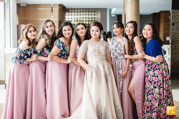 Floral bridesmaid dresses by Vanj Monsarate