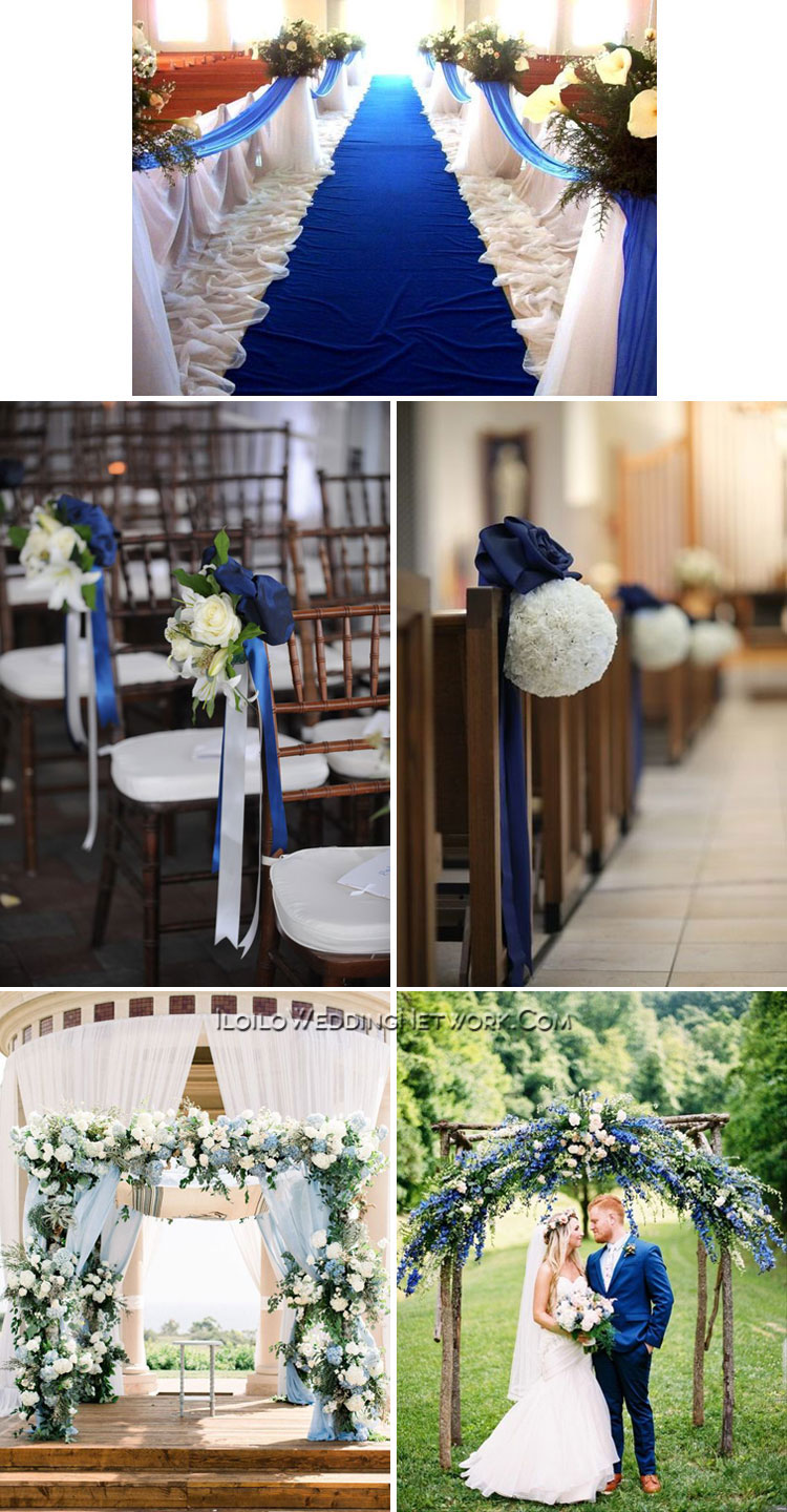 classic blue wedding aisle and arch
