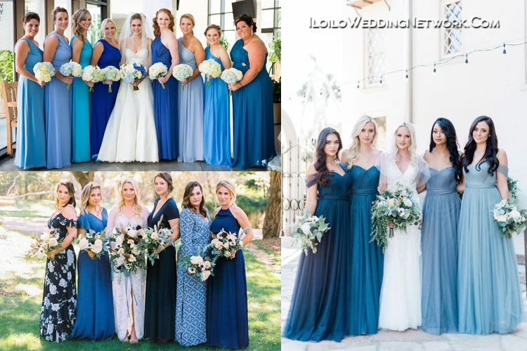 Classic Blue wedding bridesmaid dresses