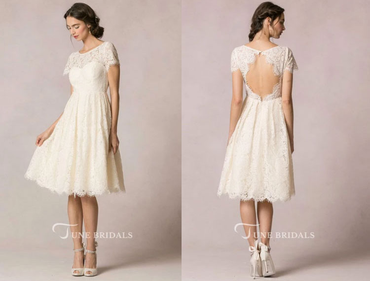 Midi-length lace wedding dress